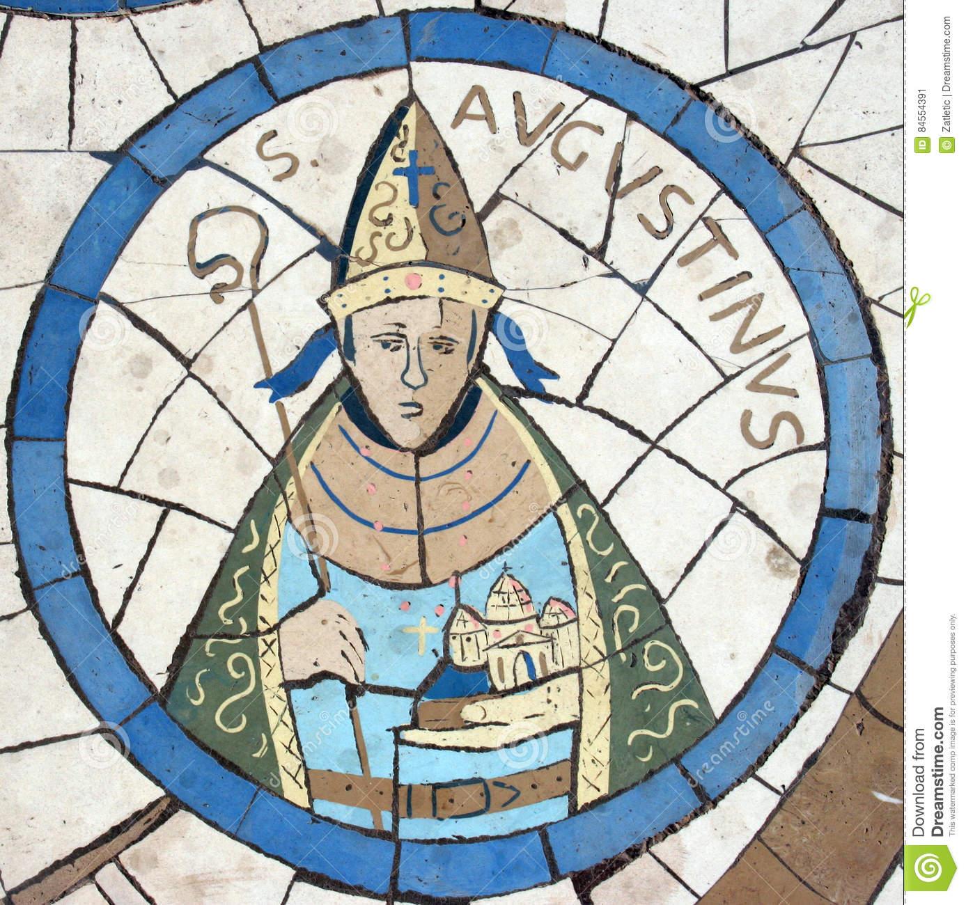 saint-augustine-hippo-mosaic-front-church-mount-beatitudes-galilee-israel-84554391